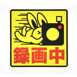 ドライブレコーダーステッカー 録画中 ウサギ 防犯 煽り防止|mony