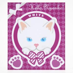 猫 ステッカー Hello,Nyanko! 白猫|mony