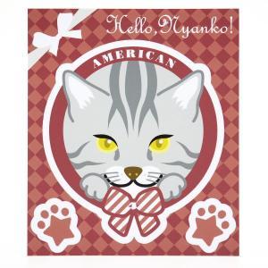 猫 ステッカー Hello,Nyanko! アメリカンショートヘア|mony