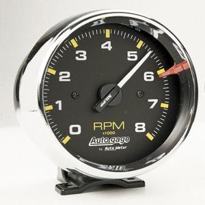 オートゲージ 8000RPM タコメーター 4/ 6/ 8気筒用クローム メッキ|mooneyes