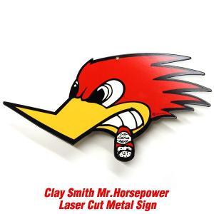 クレイスミス Mr. Horsepower レーザー カット メタル サイン|mooneyes