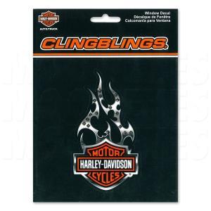 HARLEY - DAVIDSON w/Flames Cling Bling デカール (ステッカー)|mooneyes