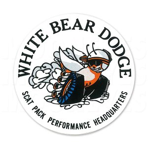 ホットロッド ステッカー White Bear Dodge Window|mooneyes