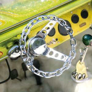 メッキ チェーン リンク 3スポーク 25cm|mooneyes