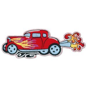 Red Hot Rod with Flames Patch|mooneyes