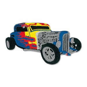 Blue Hot Rod with Flames Patch|mooneyes
