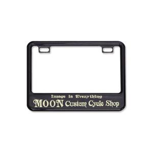 (50cc〜125cc) ライセンス プレート フレーム フォー スモール モーターサイクル MOON Custom Cycle Shop ブラック|mooneyes
