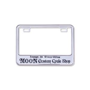 (50cc〜125cc) ライセンス プレート フレーム フォー スモール モーターサイクル MOON Custom Cycle Shop クローム|mooneyes