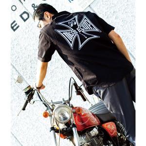 MOON Equipped (ムーン イクイップド) Iron Cross ワーク シャツ|mooneyes