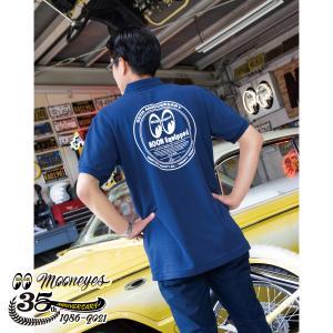 ムーンアイズ MOONEYES 35th Anniv. ラウンド ロゴ ポロシャツ|mooneyes