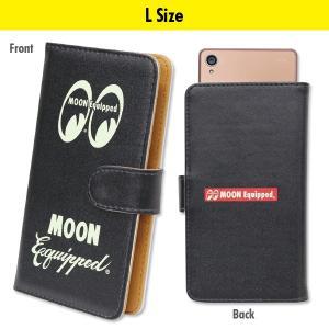 MOON Equipped (ムーン イクイップド) スマートフォン フリップ ケース Lサイズ (MOON Equipped Logo)|mooneyes