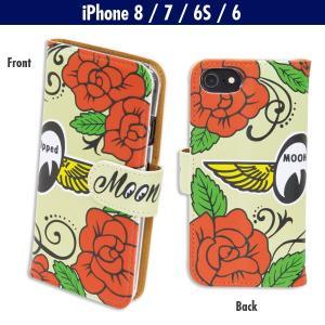 ローズ with MOON iPhone8, iPhone7 & iPhone6/6s フリップ ケース|mooneyes
