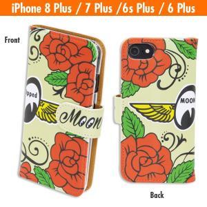 ローズ with MOON iPhone8 Plus, iPhone7 Plus & iPhone6/6s Plus フリップ ケース|mooneyes