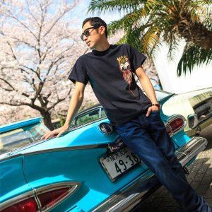XXLサイズ MOON Equipped Hot Rod & Kustom Supply Tシャツ|mooneyes