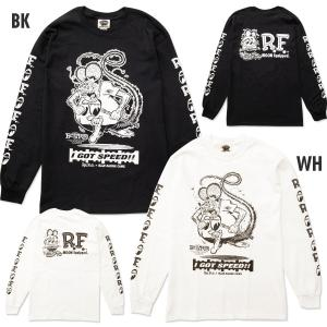 XXLサイズ Rat Fink x MOON Equipped (ラット フィンク x ムーン イクイップド) ロング スリーブ Tシャツ|mooneyes