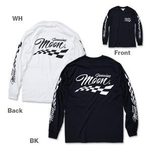XXLサイズ Genuine MOON Checker ロング スリーブ Tシャツ|mooneyes