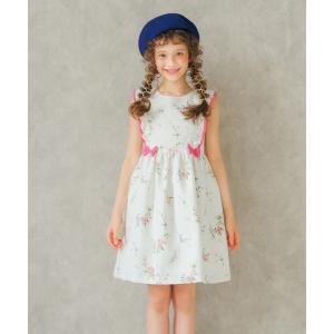 子供服 女の子 ワンピース・ジャンパースカート ノースリーブ 日本製 花柄リボン&フリル&裏地つきギャザーAライン むーのんのん MOONONNON|moononnon