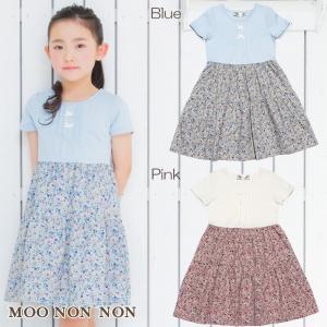 子供服 女の子 ワンピース 半袖 普段着 通学着 お出かけ着 日本製綿100%リボン付き花柄切り替えギャザードッキング むーのんのん moononnon|moononnon