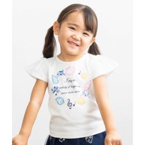 子供服 女の子 Tシャツ 半袖 普段着 ベビーサイズ 綿100%貝殻モチーフ&ロゴ&音符刺繍プリント オフホワイト ブルー 80cm 90cm むーのんのん moononnon moononnon
