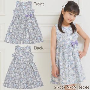 子供服 女の子 ワンピース ノースリーブ 発表会 結婚式 フォーマル お出かけ日本製 綿100%花柄リボン つきギャザー むーのんのん moononnon|moononnon