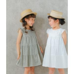 子供服 女の子 ワンピース ノースリーブ 日本製 普段着 お出かけ着 綿100%花柄レース裏地付き3段ギャザーティアードAライン むーのんのん MOONONNON|moononnon