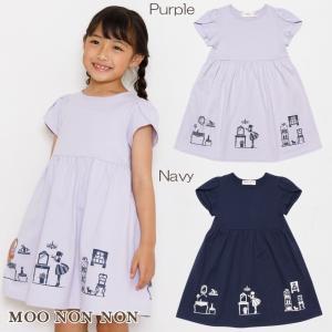 子供服 女の子 ワンピース・ジャンパースカート 半袖 普段着 通学着 綿100%リボン付き女の子&コスメプリントチューリップ袖 むーのんのん moononnon moononnon