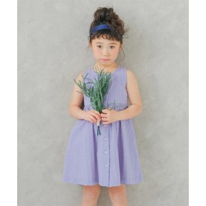 子供服 女の子 ワンピース・ジャンパースカート ノースリーブ 通学着 普段着 綿100%音符刺繍ボタン開きギャザー パープル むーのんのん moononnon|moononnon