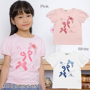 子供服 女の子 Tシャツ 半袖 普段着 通学着 綿100%リボンプリントお花モチーフ付きパフスリーブ ピンク オフホワイト むーのんのん MOONONNON|moononnon