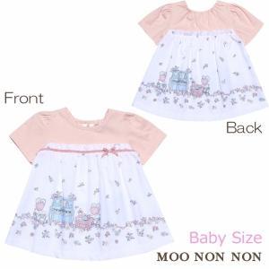 子供服 女の子 Tシャツ 半袖 ベビー服 普段着 ピアノ&お花ガーデンプリント リボンつきAライン ピンク 80cm 90cm むーのんのん MOONONNON|moononnon