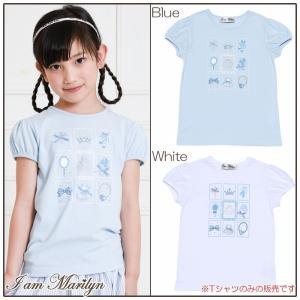 子供服 女の子 Tシャツ 半袖 普段着 通学着 綿100%バレエプリント オフホワイト ブルー 130cm 140cm 150cm 160cm アイアムマリリン IamMarilyn|moononnon