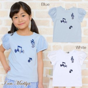 子供服 女の子 Tシャツ 半袖 普段着 通学着 綿100%音符プリント&リボン付きチュール袖 オフホワイト ブルー アイアムマリリン IamMarilyn|moononnon
