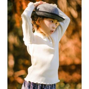 子供服 女の子 Tシャツ 長袖 日本製 普段着 通学着 綿100%リブ編み無地フリルタートルネック ピンク オフホワイト アイアムマリリン IamMarilyn moononnon