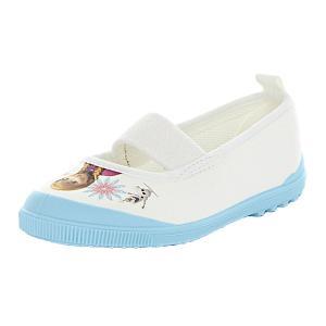 ディズニー映画「アナと雪の女王」のバレータイプの上履きです。右足にエルサ、左足にアナがオラフとともに...