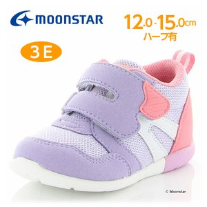 ムーンスター [セール] 子供靴 ベビーシューズ 女子 MS B111 コハシ パープル 抗菌防臭 ...