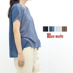 マオメイド maomade 40/2ハイツイストコットン&ローン切替VネックTシャツ 821127 ...