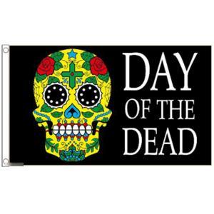 海外限定 国旗 デイ・オブ・ザ・デッド 死者の日 メキシコ メキシカンスカル カラベラ シュガー 骸...