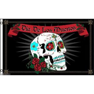 海外限定 国旗 死者の日 メキシコ デイ オブ ザ デッド スカル 骸骨 ドクロ 特大フラッグ