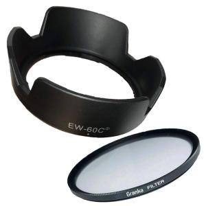 Canon キヤノン 互換 レンズフード & UV保護 レンズフィルター 2点セット (EW-60C 花型 & 58mmフィルター)|morevalue