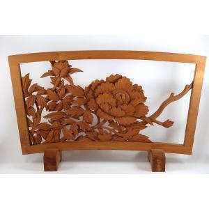 木彫 牡丹の額(レリーフ)伝統工芸士作 壁掛け 置物 花 植物 絵画
