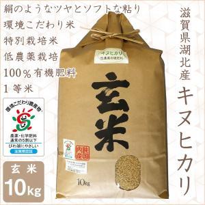 低農薬 キヌヒカリ 10kg 令和2年産 玄米 100%有機肥料 特別栽培米 1等米 滋賀県環境こだわり米 morikawa-noujou