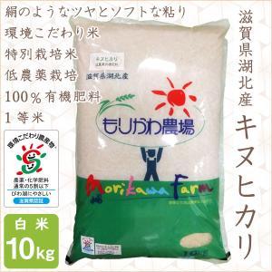低農薬 キヌヒカリ 10kg 令和2年産 白米 100%有機肥料 特別栽培米 1等米 滋賀県環境こだわり米|morikawa-noujou