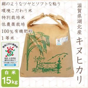 低農薬 キヌヒカリ 15kg 令和2年産 白米 100%有機肥料 特別栽培米 1等米 滋賀県環境こだわり米|morikawa-noujou