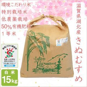 低農薬 きぬむすめ 15kg 令和2年産 白米 50%有機肥料 特別栽培米 1等米 滋賀県環境こだわり米 morikawa-noujou