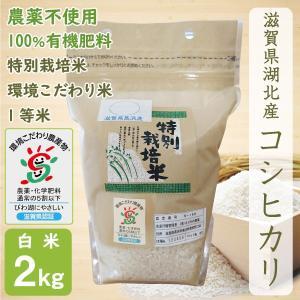 無農薬 コシヒカリ 2kg 令和2年産 白米 農薬不使用 100%有機肥料 特別栽培米 1等米 滋賀県環境こだわり米|morikawa-noujou