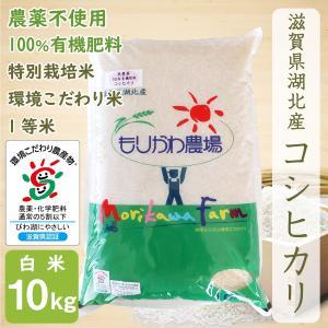 無農薬 コシヒカリ 10kg 令和2年産 白米 農薬不使用 100%有機肥料 特別栽培米 1等米 滋賀県環境こだわり米|morikawa-noujou