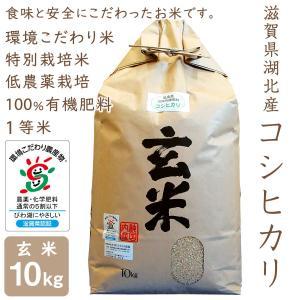 低農薬 コシヒカリ 10kg 令和2年産 玄米 100%有機肥料 特別栽培米 1等米 滋賀県環境こだわり米|morikawa-noujou