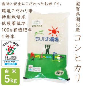 低農薬 コシヒカリ 5kg 令和2年産 白米 100%有機肥料 特別栽培米 1等米 滋賀県環境こだわり米|morikawa-noujou