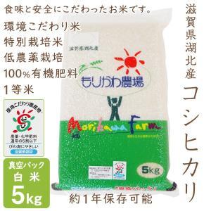 低農薬 コシヒカリ 5kg 令和2年産 真空パック 白米 100%有機肥料 長期保存 特別栽培米 1等米 滋賀県環境こだわり米|morikawa-noujou