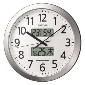 設定した時間にチャイムを鳴らす壁掛け時計 リズム 電波時計 4FN404SR19 文字入れ対応、有料|morimototokeiten