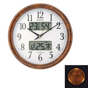 壁掛け時計 ライト付 温湿度計 カレンダー付 電波時計 4FY617SR23  文字入れ対応、有料 取り寄せ品|morimototokeiten